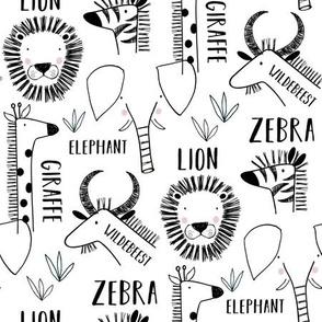 Safari animals black and white