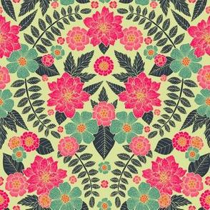 Modern Hot Pink, Teal, Cream & Blue Floral Pattern