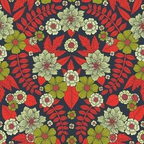 Modern Floral Pattern - Orange, Green, Cream & Gray