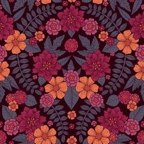 Peach, Rose, Magenta & Blue-Gray Floral Pattern