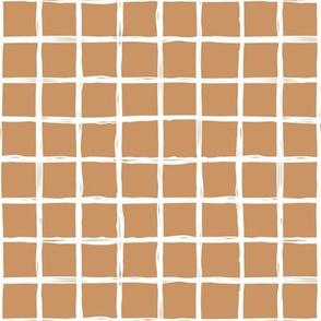 Minimal abstract raw brush paint grid geometric maze nursery cinnamon latte brown