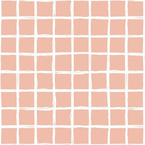 Minimal abstract raw brush paint grid geometric maze nursery soft coral pink