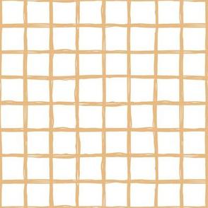 Minimal abstract raw brush paint grid geometric maze nursery soft cinnamon beige on white