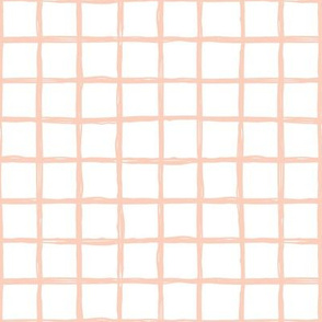 Minimal abstract raw brush paint grid geometric maze nursery soft coral pink white