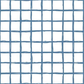 Minimal abstract raw brush paint grid geometric maze nursery cool blue on white
