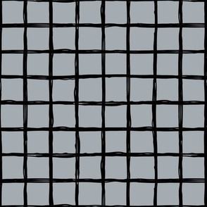 Minimal abstract raw brush paint grid geometric maze nursery cool gray black