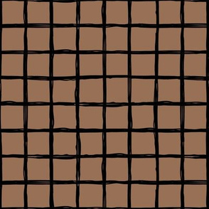 Minimal abstract raw brush paint grid geometric maze nursery moka coffee brown