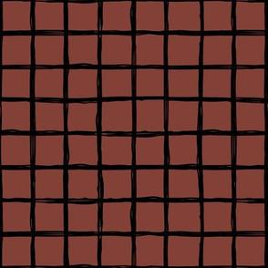 Minimal abstract raw brush paint grid geometric maze nursery maroon stone red