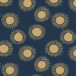 Sunny day boho sunshine and sun rays summer minimal abstract nursery design navy golden yellow