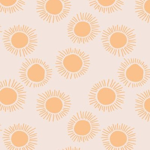 Sunny day boho sunshine and sun rays summer minimal abstract nursery design soft beige golden yellow