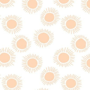Sunny day boho sunshine and sun rays summer minimal abstract nursery design soft orange apricot