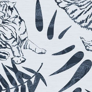 Tigers and Bamboo Leaves in Blue / Big Scale