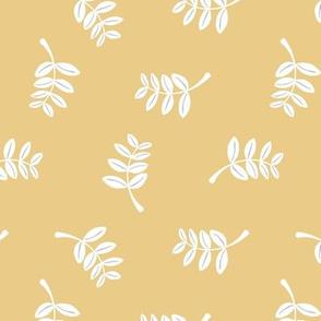 Soft minimal boho style leaves summer garden lush jungle earthy nature nursery honey yellow