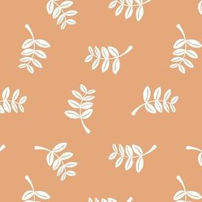 Soft minimal boho style leaves summer garden lush jungle earthy nature nursery orange coral