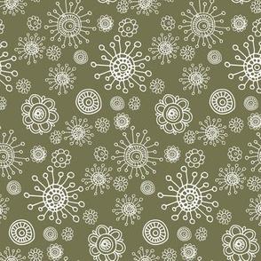 Floral Olive Green