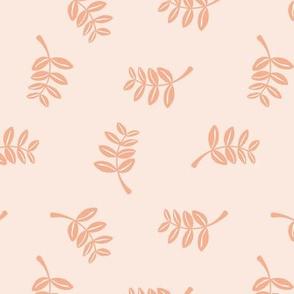 Soft minimal boho style leaves summer garden lush jungle earthy nature nursery coral blush apricot
