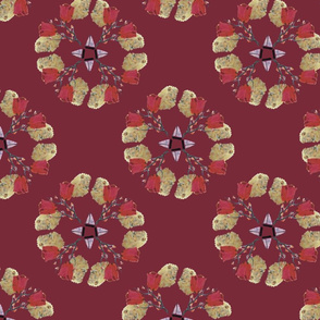 Seasons pattern - Fall Tibetan Red