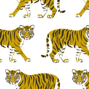 Tiger Parade - Ochre on White - by Heather Anderson