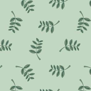 Soft minimal boho style leaves summer garden lush jungle earthy nature nursery mint green forest sage