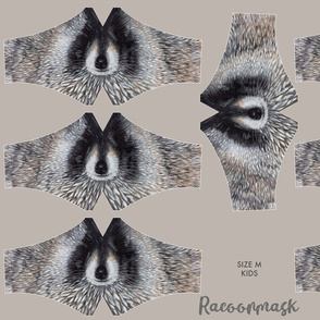 Racoonmask Size M for kids (6-11 years), racoon face mask, facemask