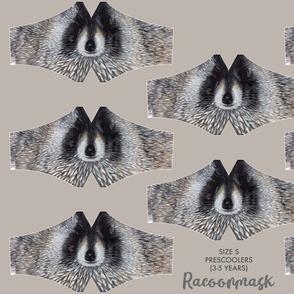 Racoonmask Size S - preschooler (3-5 years), racoon face mask