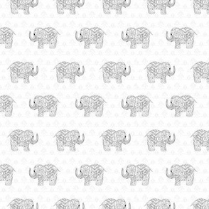 Elephants in Doodles Black and White