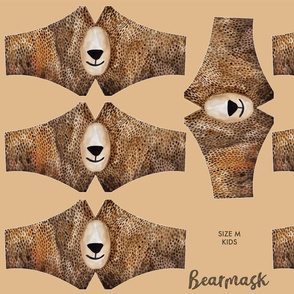 Bearmask Size M for kids (6-11 years), bear face mask, facemask