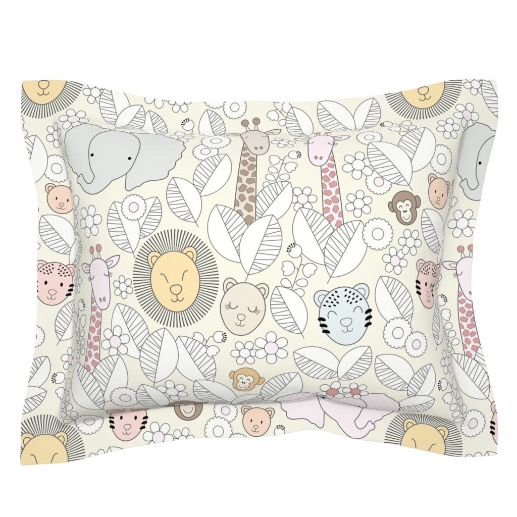 Sebright Pillow Sham featuring Safari Jungle Nursery-Gray Outline by twigged