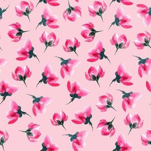 Pastel Bright Pink Watercolor Sakura Flowers
