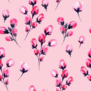 Pastel Bright Pink Watercolor Flowers Branches