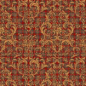 Mauna Damask ~ Gilt on Royal Stewart Tartan Red