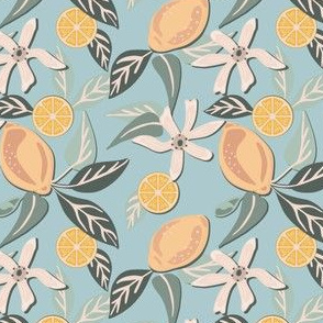 Citrus and Mint, on blue, small
