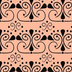 Peach and Black Design Small