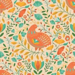 Folk Art Bird Chicken Soft Colors, Paradise Animals