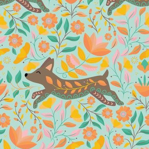 Pastel Folk Art Dog Puppy Dreaming, Colorful Pink Orange Flowers and Leaves