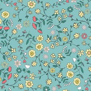 ditsy flowers teal - small scale