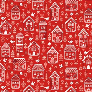 Scandi houses - red - small scale