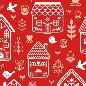 Scandi houses - red - large scale
