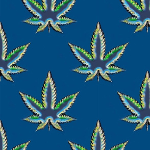 Blue and Green Marijuana Pot Leaf