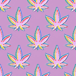 Pastel Pink Rainbow Marijuana Pot Leaf