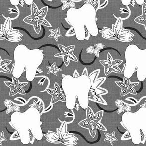 Aurora's Fantasy Flower / Gray scale Dental Tooth Design