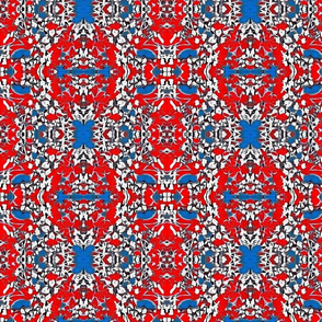 4th of July Lacy Floral Motif Fabric