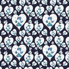 paw prints on my heart in navy