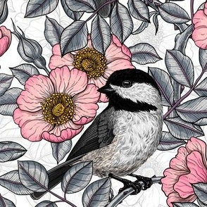 Chickadees in the wild rose, pink and gray