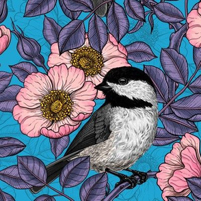 Chickadees in the wild rose, pink and violet