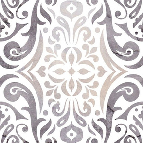Watercolor damask - storm - large scale