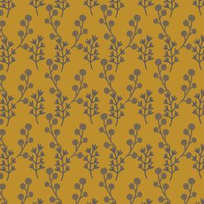Blockprint floral - mustard