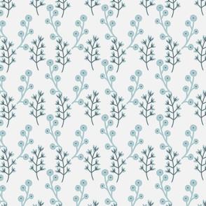 Blockprint floral - white