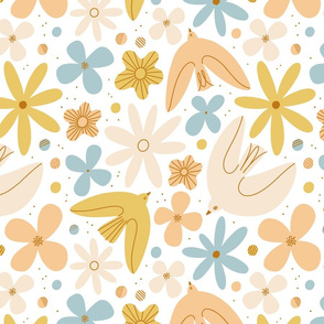 Calm spring hues floral pattern with birds