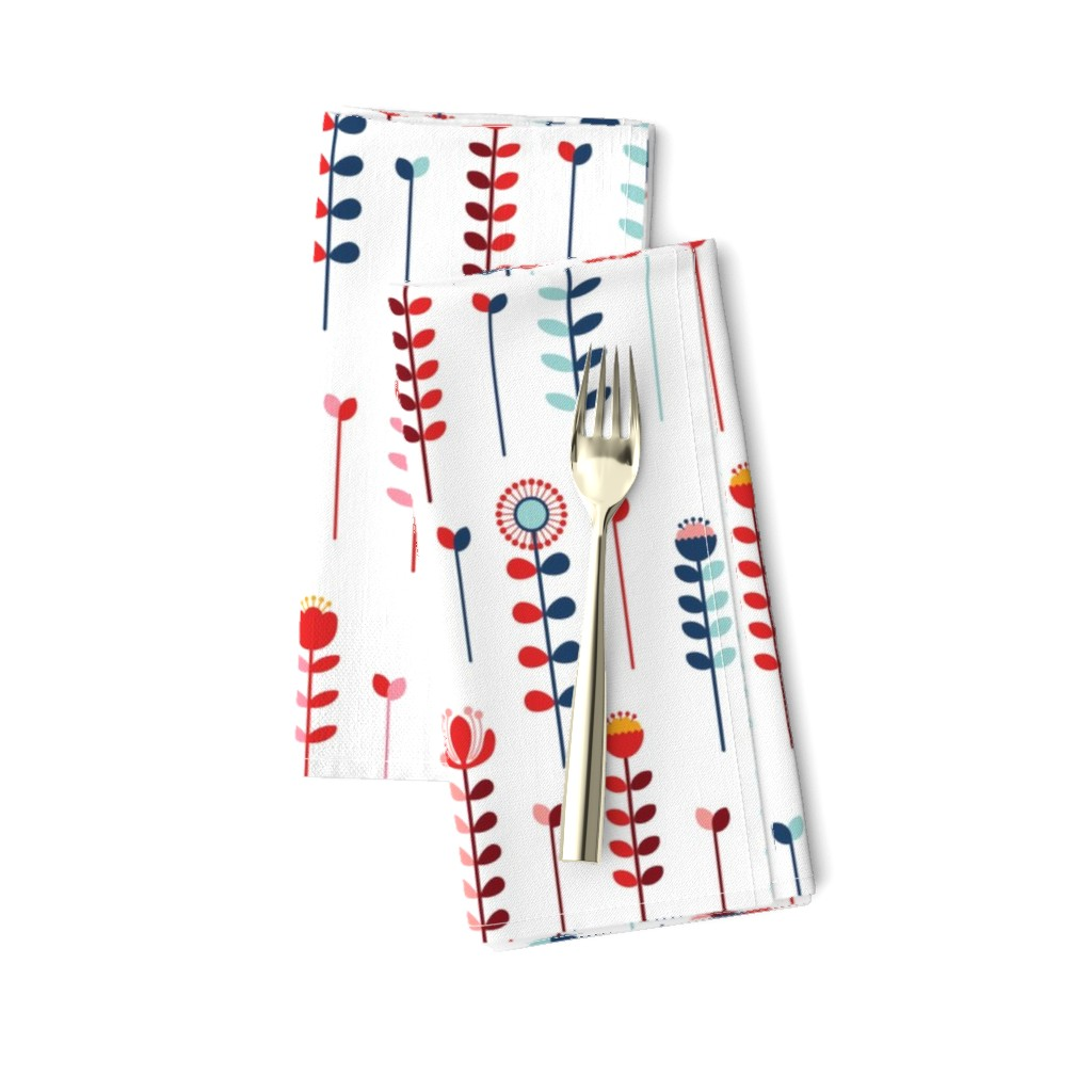 Amarela Dinner Napkins featuring Long Stemmed Bright Colored Flowers by twigged